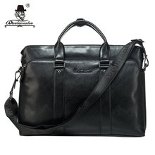 "DIOULAORENTOU 15.6"" Men's Split Leather Tote Handbags Large Business Laptop Bags Crossbody Shoulder Messenger Bag for Men(China)"