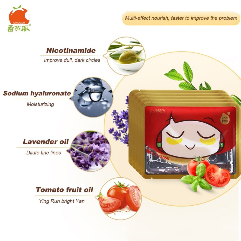 TOMATO PIE 140G Smooth Collagen Firming Moisturizing Eye Mask Gold Osmanthus Remove Dark Circles Skin Care Eye Masks Treatment 14
