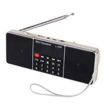 Mini Portable L-288 FM Radio Speaker LCD Screen Rechargeable Stereo Support TF Card USB Disk MP3 Music Player Loudspeaker