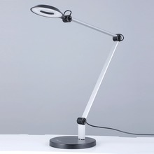 8W Halo LED Swing Arm Desk Lamp Architect Table Lamp with Round Weighted Base 3 Brightness Level and Adjustable Arm for Reading