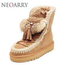 NEOARRY 2017 Top Quality Women's Genuine sheepskin leather Snow Boots 100% natural fur snow boots Warm Winter Boots CC107