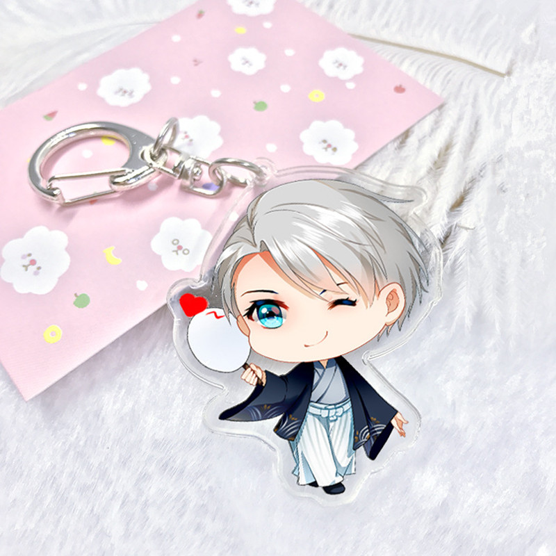 Fancy&Fantasy Anime Yuri!!! on Ice Keychain Victor Nikiforov Yuri Katsuki Pendant Keyring Cute Character Figure Phone Bag Charm(China)
