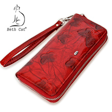 Beth Cat Women Wallet Genuine Leather Butterfly Print Fashion Zipper Long Wallets Clutch Lady Vintage Clutch Bag Coin Purse(China)