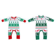 Newborn Baby Clothes Snowflake Reindeer Christmas Tree Printed Romper Long Sleeve Cotton Winter Baby Girls Boys Romper(China)