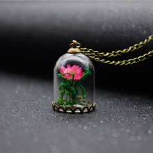 European Style Bronze Color Pink Rose Dried Glass Necklace Handmade Jewelry, Vintage Glass Flower Necklace(China)