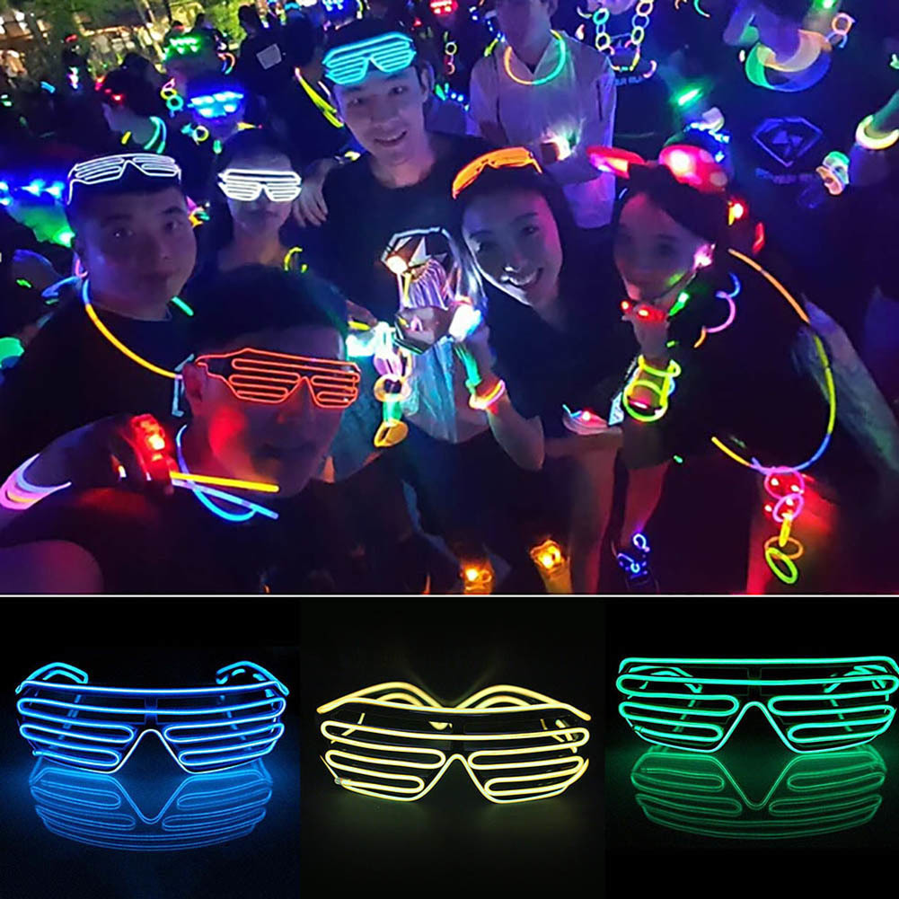 Luminous LED Glasses Shutter Shades Bar Party Fluorescent Dance DJ Bright Lamp Neon LED Light Glow Atmosphere Activing Props
