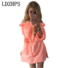 LDZHPS 2017 fresh summer female candy color chiffon Beach style Straight dress Slash neck Half-sleeve  Fashion Casual Mini dress
