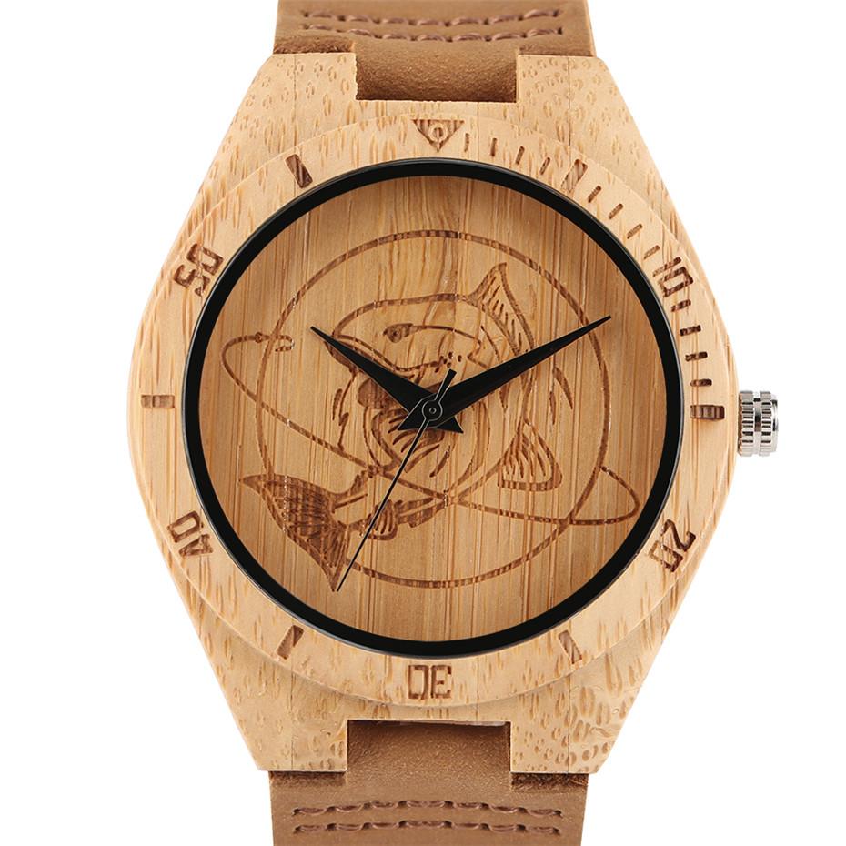 YISUYAสร้างสรรค์ไม้นาฬิกาฉลามปลาบุรุษสตรีธรรมชาติไม้ไผ่ไม้ควอตซ์นาฬิกาข้อมือสบายๆหนังโชคด... 6