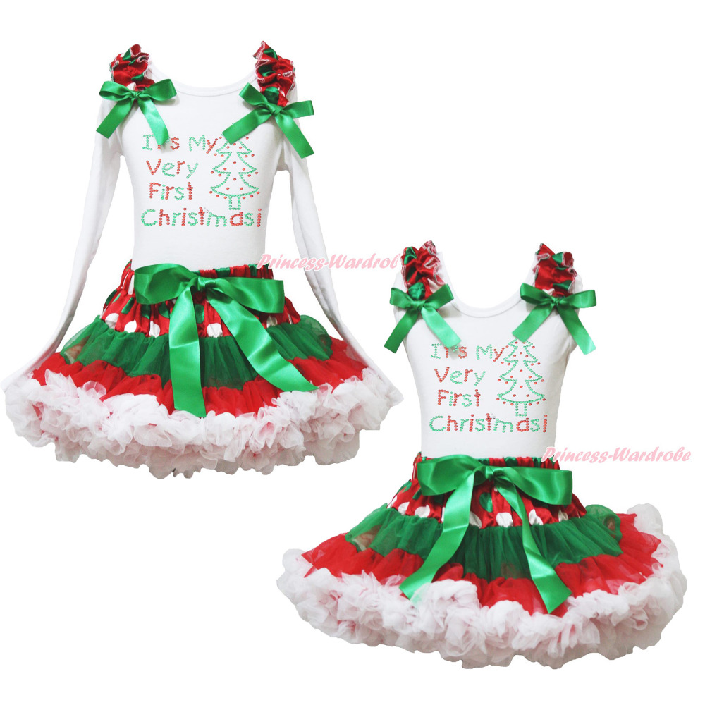 First Christmas Tree White Top Xmas Dot Waist Girls Pettiskirt Outfit Set 1-8Y<br>