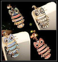 Cute Colorful Painting Oil Owl Anti Dust Plug Cell Phone Accessories 3.5mm Earphone Dust Plug Dachshund For Iphone For Samsung(China)
