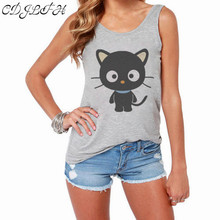 2017 New Fashion Tank Tops Women Backless Vest Shirt Summer Sleeveless Vest Casual Print Cute Black Cat Women's Vest Female