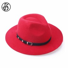 FS New Red Wool Felt Fedoras Panama Hat Black Metal Buckle Belt Jazz Cap For Women Classic England Style Ladies Caps(China)