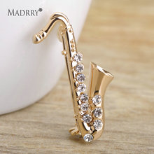 Madrry Exquisite Small Saxophone Shape Brooch Sparkling Rhinestone Brooches For Womem Shoulder Collar Pins Spilla Donna Jewelry(China)