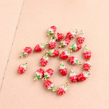 50pcs/lot Mixed styles Gold color 3D Strawberry Charms,red Enamel strawberry pendant ,Fruit Charm For DIY Jewelry Making