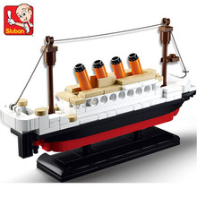 Sluban 194pcs Educational Building Blocks Sets Titanic Ship Toys Boat Model Kids Gifts Boys Birthday Gift compatible all brand(China)