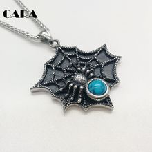 CARA New 316L stainless steel spider net pendant necklace Blue stone spider necklace halloween jewelry necklace gift CARA0399(China)