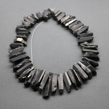 Approx 50pcs/strand Natural Raw Black Titanium Quartz Crystal Point Pendant Rough Top Drilled Spike Gem Beads Crystal Necklace