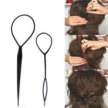 2 Pcs Ponytail Creator Plastic Loop Styling Tools Black Topsy Pony Topsy Tail Clip Hair Braid Maker Styling Tool