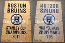 Boston Bruins Stanley Cup Champions 2011 Flag 3ft x 5ft Polyester NHL Team Banner Flying Size No.4 144* 96cm QingQing Flag(China)
