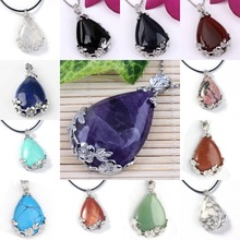 Kraft-beads Silver Plated Amethysts Rock Crystal With Leaf Flower Water Drop Black Agates Pendant Lapis Lazuli Jewelry(China)