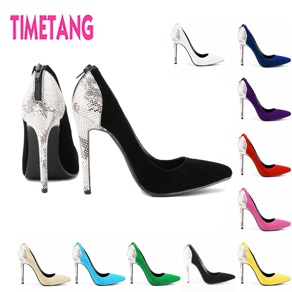 TIMETANG Freeshipping European New 11cm High Heel Stiletto Women Shoes Sexy Snake Print Lady Pumps 35-42<br>