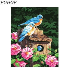 FGHGF Colorful Birds Frameless Handpainted DIY Digital Oil Painting By Numbers Tiger Pictures Paiting On Canvas Wall Decor