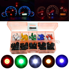 Qook 30 Sets Car Auto PC74 T5 LED Twist Socket Instrument Panel Cluster Plug Dash Light mix  Bulb Green Red Blue White yellow