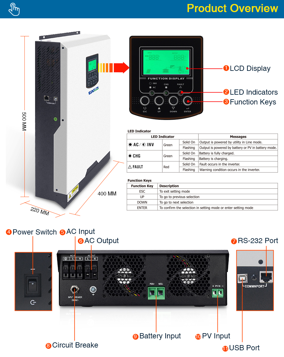 EASUN POWER MPPT Solar Inverter 3000W 24V 220V 60A MPPT Off Grid Inverter 3Kva Power Inverter Solar Charger 60A Battery Charger_04