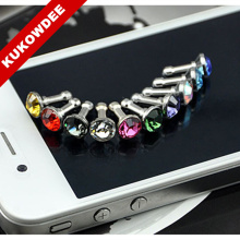 10 pcs Bling Diamond Dust Plug Universal 3.5mm Cell Phone Earphone Plug For iPhone 6 5s & Samsung & HTC & Sony & iPad