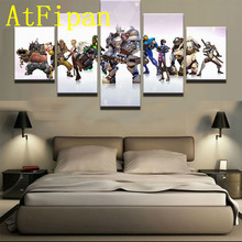 AtFipan Cuadros Decoracion Modular Wall Paintings 5 Piece Game Characters Modern Oil Painting on Canvas Pictures For Living Room(China)