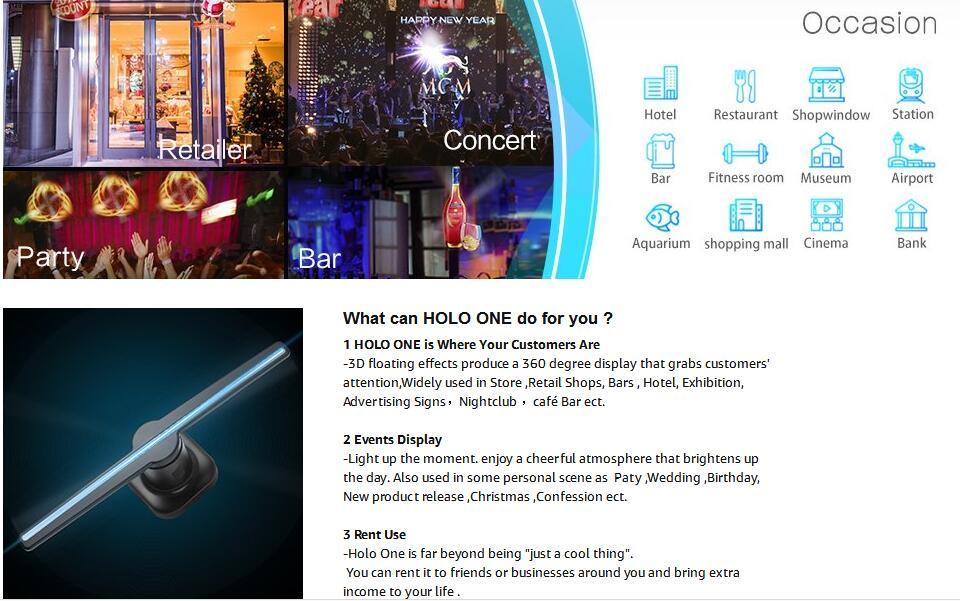 3D Hologram Advertising Display LED Fan spec1