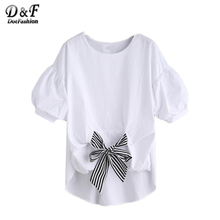 Dotfashion White Striped Tie Front Puff Sleeve Dip Hem Shirt Women Short Sleeve  Bow Round Neck High Low Blouse