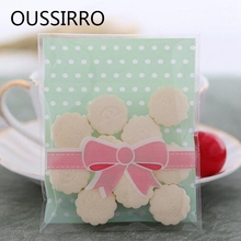 25Pcs Bow dot Kawaii Cookies Biscuit Packaging Bag Plastic Self Adhesive Gift Bags For Cake Candy Christmas wedding Party Favors(China)