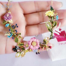2007 New CSxjd arrival les Nereides Oriental rose pink yellow flowers Luxurious big necklace women necklace jewellery(China)
