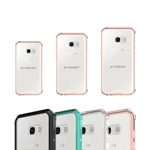 TPU Bumper+Acrylic Transparent Clear Back Cover Case For Galaxy New 2017 A3 A320 / A5 A520 / A7 A720 Air Hybrid Protection Case