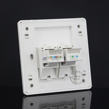 Gigabit Faceplate 2 Ports One RJ45 Cat6 Network LAN & One Cat3 Telephone Socket