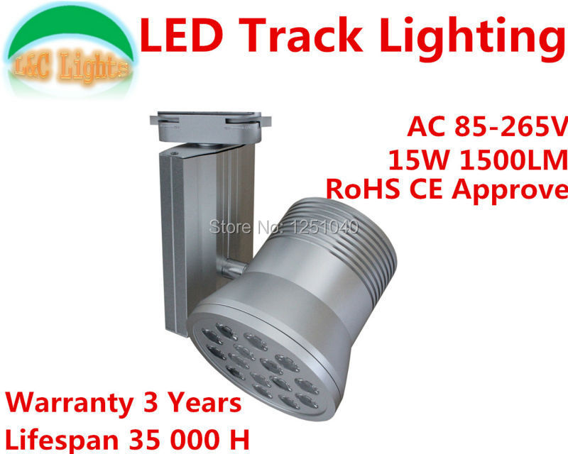 Free Shipping!AC85-265V 15W  Bridgelux LED Track Lightst,Showcase Spot light,Track Lighing,Warranty 3 Years CE RoHS 6PCs a Lot<br>