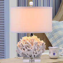 Fashion Crystal Table Lamps For Bedroom Luxury Crystal Table Lamp Brief Modern Mediterranean Red Coral Crystal Decoration Lamp(China)