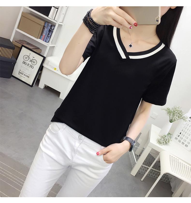 4XL 5XL Plus Size Korean Women's Clothing Fashion Big Size T-shirt Female V neck Short Sleeve Casual obesity Tee Shirt Top Femme 45 Online shopping Bangladesh