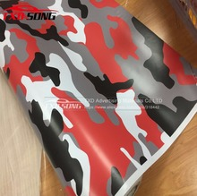 Premium Red Jumbo Camo Car styling Truck Body Rearview Mirror Decal Camouflage Vinyl Film Wrap Air Bubble PVC Stickers Bomb