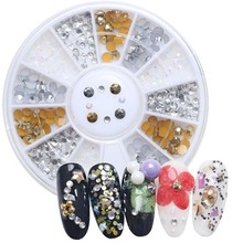 1box nail art 2mm-3mm  Acrylic Gold silver and white mixed AB rhinestones,Uv Gel DIY Nail Cell phone design,decorations tipstool