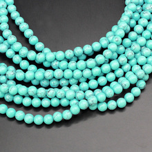 "Round Turquoises Beads Natural Stone Fashion Jewelry Loose Beads For DIY Bracelet Making Strand 15"" 4/6/8/10/12MM"