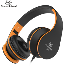 Sound Intone I68 Headphones with Microphone and Volume Control Adults Foldable Music Headset for iPhone Android Smartphones