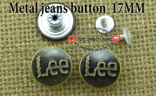 1000PCS 17MM letters silver gray metal jeans button sewing clothes accessories JMB-126A(China)