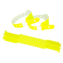100pcs Neon yellow one time use customized waterproof tyvek/vinyl/paper wristbands Music Festival wristbands for event(China)