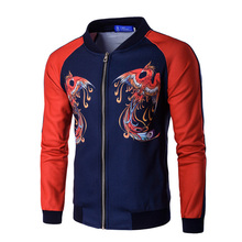 2017 new style men's fashion baseball jacket men personality Urban leisure patchwork color high-grade printing Phoenix coat(China)