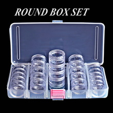 Nail Art Accessory Round Box Set, Tiny clear bottles with screw cap for DIY Cosmetics Nails Jewelry beads Crafts containers case