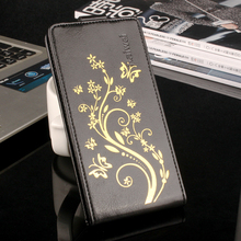 Gold Plated Flower Phone Bag Flip Cover Sticky Case for Doogee F3 Pro PU Leather Shell for Doogee f3 Pro with Clip Up Down Open
