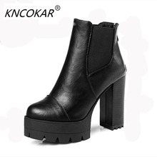 The new autumn and winter new comfortable thick high heel female boot round head fashionable women style Martin large size boots(China)