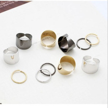 6PCS Simple Design Metal Silver Polished Surface Simple Wide Joints Opening Rings Set #52577